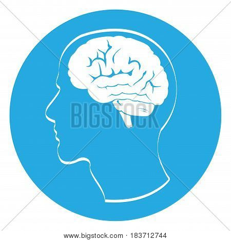 Isolated outline of a head with a brain, Vector illustration