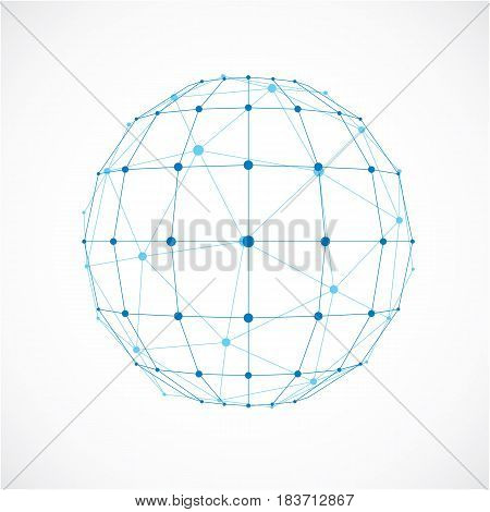 3D Vector Digital Wireframe Spherical Object Made Using Facets. Geometric Polygonal Blue Ball Create