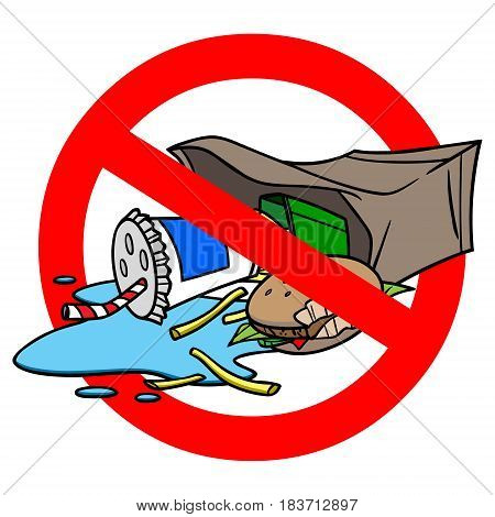A vector illustration of a do not litter sign.