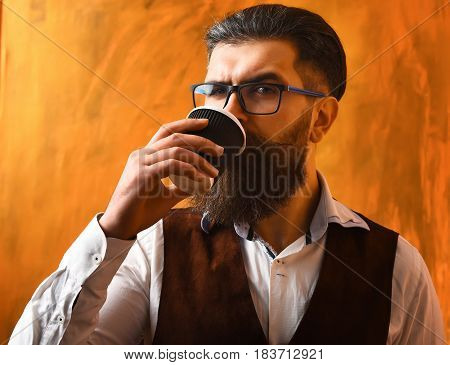 Bearded Man, Brutal Caucasian Hipster Drinking Coffee From Cup