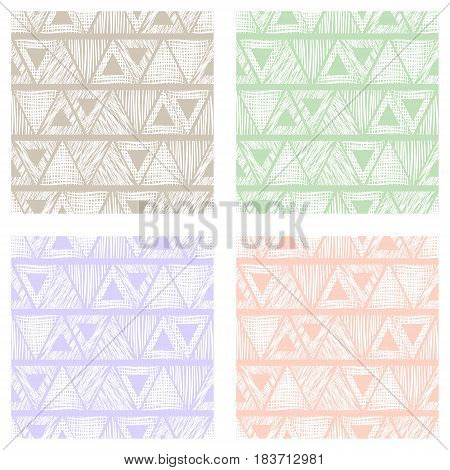 Set Of Seamless Vector Geometrical Patterns With Triangles. Pastel Endless Background With Hand Draw