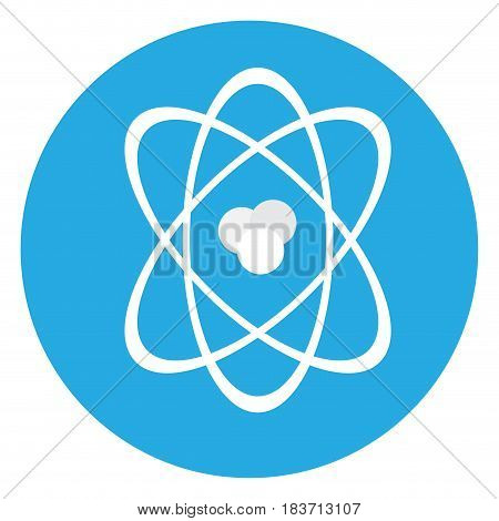 Isolated atom on a blue button, Vector illustration