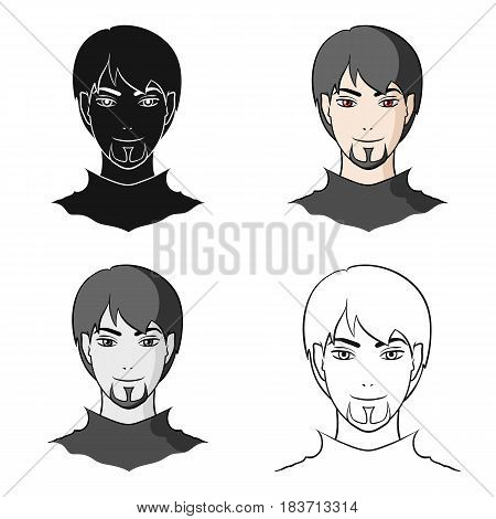 Avatar of a man with red eyes .Avatar and face single icon in cartoon style vector symbol stock web illustration.