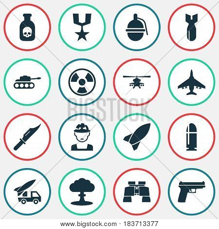 Warfare Icons Set. Collection Of Slug, Chopper, Ordnance And Other Elements. Also Includes Symbols Such As Nuclear, Glass, Cutter.