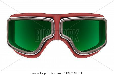 Realistic 3D retro leather red aviator goggles for motorcyclist or airplane