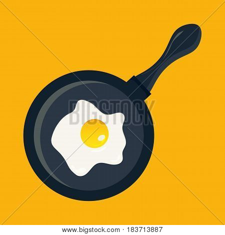 Fried egg in a frying pan. Frypan also called skillet pan with fried egg in it. Illustration made in a flat cartoon style.