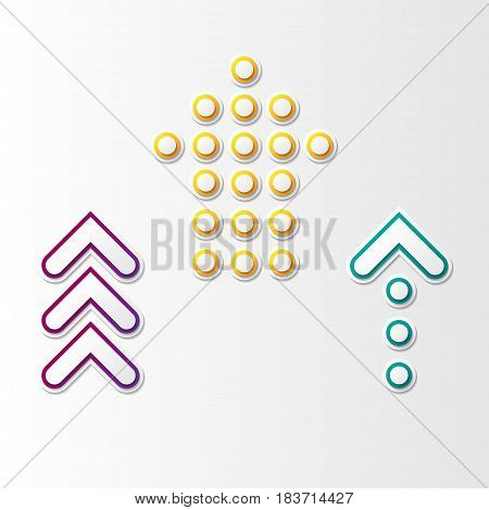 Set of three abstract arrows different forms and colors