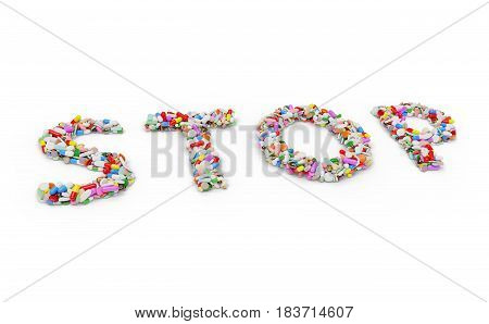 Medicine pills and capsules forming the word STOP