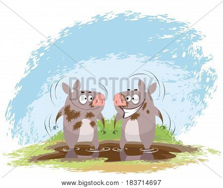 Vector illustration of a two boars in mud