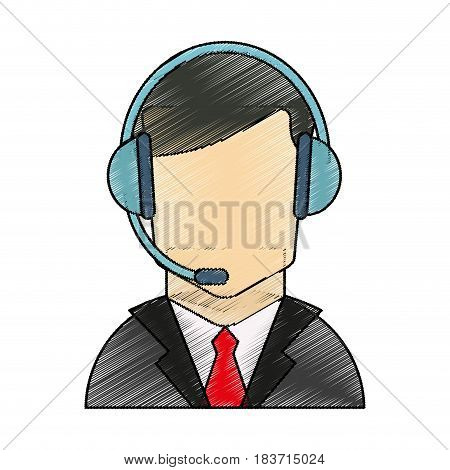color pencil faceless guy customer service icon vector illustration