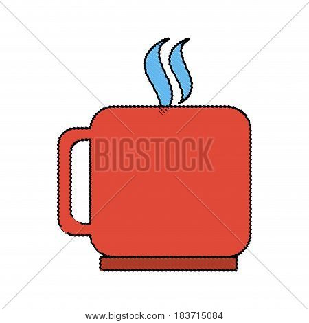 color blurred silhouette mug of coffee with steam vector illustration