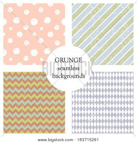 Set Of Seamless Vector Patterns. Geometric Backgrounds With Circles, Rhombus, Crancle, Diagonal Line