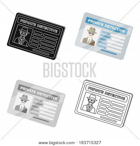 Documents of a private detective. Card that shows the personality of the detective.Detective single icon in cartoon style vector symbol stock web illustration.