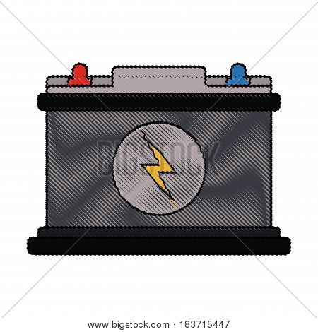 color blurred stripe of car battery icon vector illustration