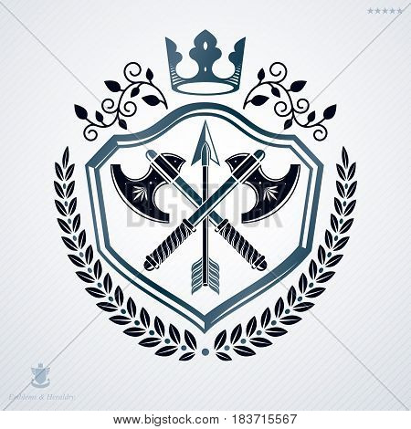 Vintage Decorative Heraldic Vector Emblem Composed Using Armory And Royal Crown
