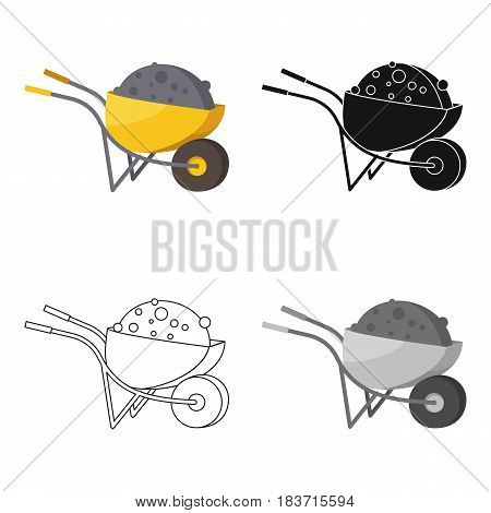 Wheelbarrow icon in cartoon style isolated on white background. Build and repair symbol vector illustration.