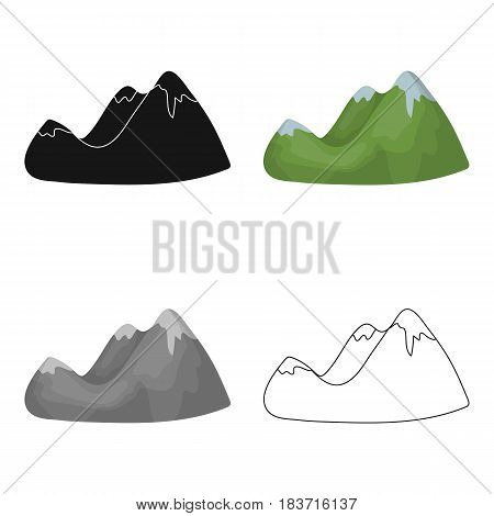 Green mountains.Mountain range covered with dense forest.Different mountains single icon in cartoon style vector symbol stock web illustration.