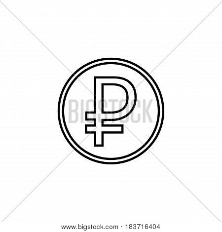 Ruble coin line icon, finance and business, ruble sign vector graphics, a linear pattern on a white background, eps 10.