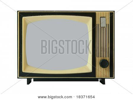 old-fashioned radio on white background