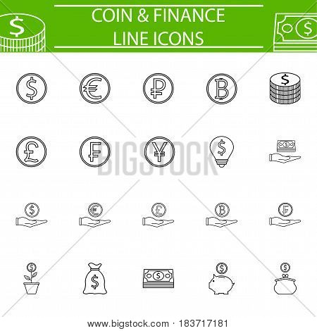 Coins line pictograms package, finance symbols collection, business vector sketches, logo illustrations, economy linear icon set isolated on white background, eps 10.