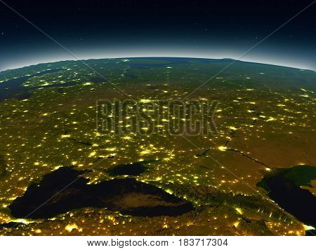 Caucasus Region From Space In The Evening
