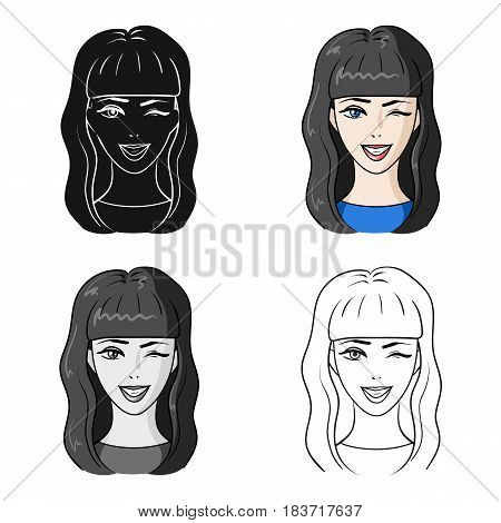 Avatar girl with long dark hair.Avatar and face single icon in cartoon style vector symbol stock web illustration.