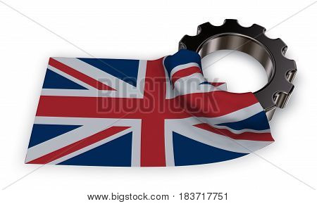 gear wheel and flag of the united Kingdom of Great Britain and Northern Ireland - 3d rendering
