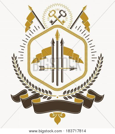 Vintage heraldic vector decorative emblem composed using spears and armory