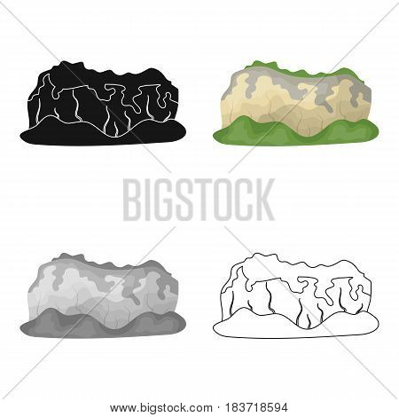 High green mountains.Mountains covered with forests.Different mountains single icon in cartoon style vector symbol stock web illustration.