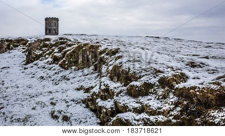 Solomon's Temple in Buxton England in snow