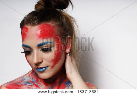 Fashion girl portrait with colorful make up
