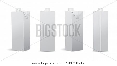 Set of Blank Milk / Juice Carton Vector Illustrations Mockup