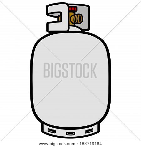 A vector illustration of a cartoon Propane Tank.
