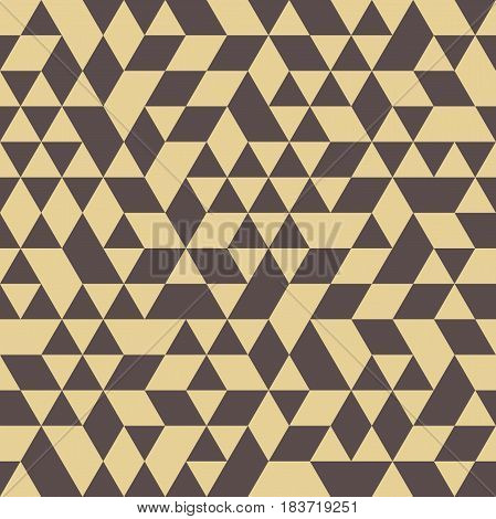 Geometric vector pattern with brown and golden triangles. Geometric modern ornament. Seamless abstract background