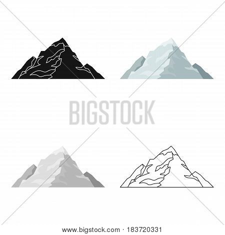 Ice mountain covered with snow.A mountain for skiing.Different mountains single icon in cartoon style vector symbol stock web illustration.