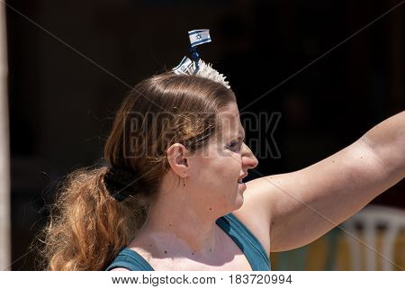 Undefined Woman With Israeli Flag On Her Head