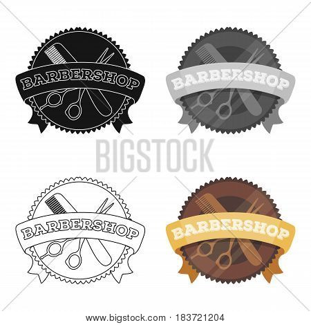 Barber's sign.Barbershop single icon in cartoon style vector symbol stock illustration .