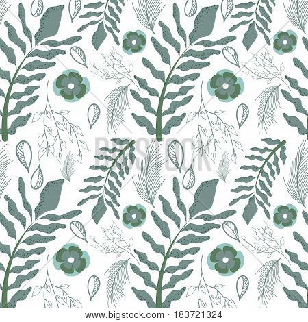 beautiful gray floral pattern background, vector illustration