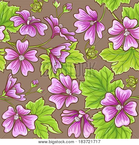 malva flower vector pattern on color background