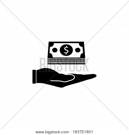 Moneys in hand solid icon, finance and business, Bundle of money sign vector graphics, a filled pattern on a white background, eps 10.