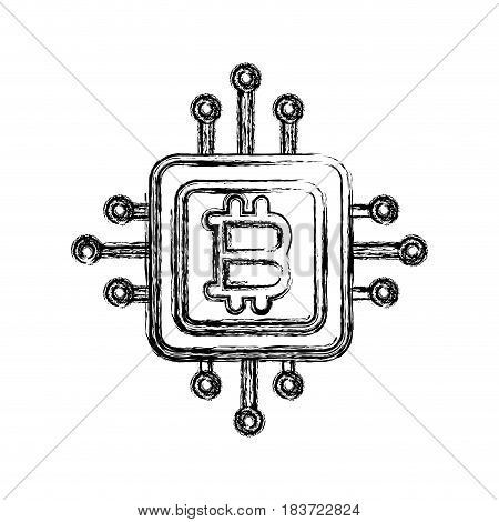 figure bitcoin currency sign with circuits network, vector illustration