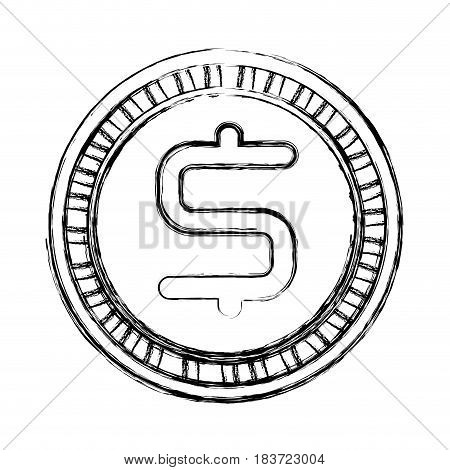 figure dollar coin currency icon, vector illustration