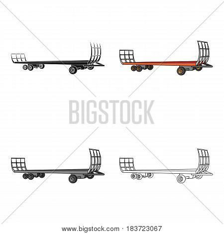 Specialized trailer on wheels for trucks for transportation of hay bales.Agricultural Machinery single icon in cartoon style vector symbol stock web illustration.