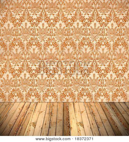 vintage interior with floral wallpaper