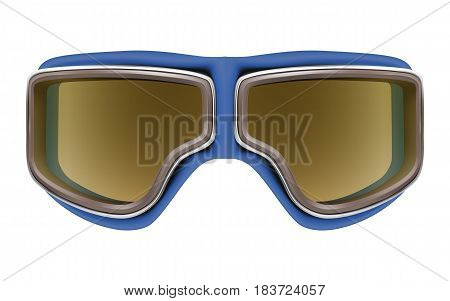 Realistic 3D retro leather blue aviator goggles for motorcyclist or airplane