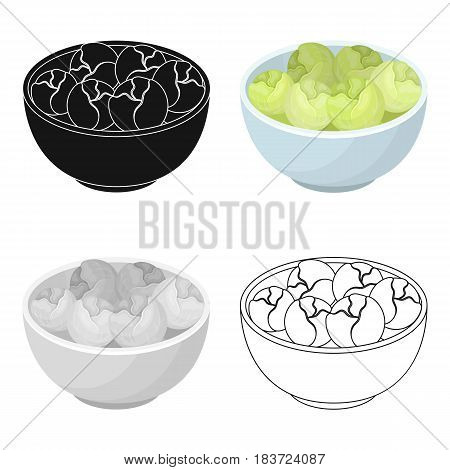A plate of salad greens.The dark Belgian wolf. Belgium single icon in cartoon style vector symbol stock web illustration.