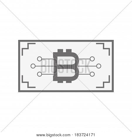 ticket with bitcoin circuits money currency, vector illustration