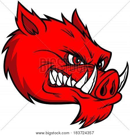 A vector illustration of a wild hog.