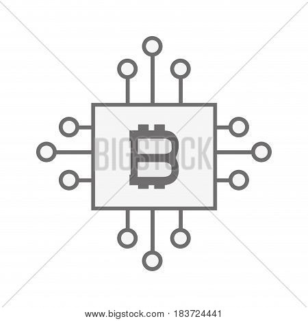 bitcoin currency sign with circuits network, vector illustration
