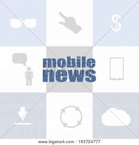 Text Mobile News. Press Concept . Infographic Template For Presentations Or Information Banner